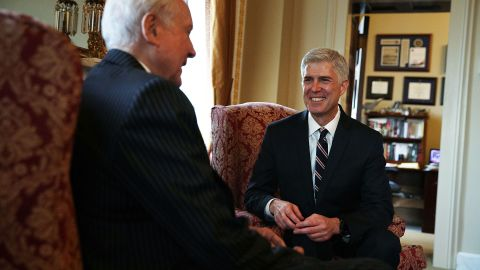 WASHINGTON, DC - FEBRUARY 01:  U.S. Sen. Orrin Hatch (R-UT) (L) meets with Supreme Court nominee Judge Neil Gorsuch (R) February 1, 2017 at the Capitol in Washington, DC. President Donald Trump has nominated Judge Gorsuch to the Supreme Court to fill the seat that had left vacant with the death of Associate Justice AntoninÊScaliaÊin February 2016.Ê  (Photo by Alex Wong/Getty Images)
