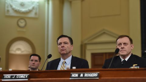 FBI Director James Comey and National Security Agency Director Mike Rogers are at the House Permanent Select Committee on Intelligence hearing on Russian actions during the 2016 election campaign on March 20, 2017.