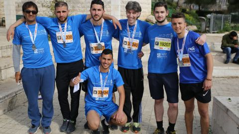 """""""We don't run for politics but for humanity,"""" Haas, who competed in the 10 km race, told CNN. """"There is no difference between a Jew and an Arab."""""""