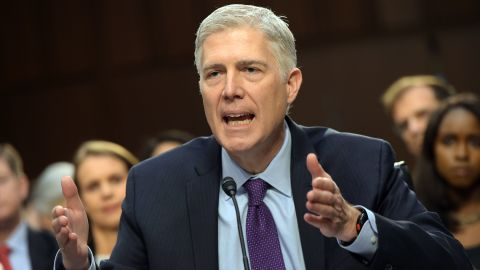 Neil M. Gorsuch testifies before the Senate Judiciary Committee on his nomination to be an associate justice of the US Supreme Court during a hearing in the Hart Senate Office Building in Washington, DC on March 21, 2017. / AFP PHOTO / MANDEL NGAN        (Photo credit should read MANDEL NGAN/AFP/Getty Images)