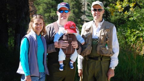 Gorsuch and his wife pose for a photo with their friend Michael Trent and Trent's oldest son during a fishing trip near Granby, Colorado, in September 2008. Gorsuch is godfather to both of the Trent family's sons.