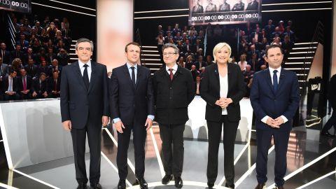 French presidential election candidates (left to right) Francois Fillon, Emmanuel Macron, Jean-Luc Melenchon, Marine Le Pen, Benoit Hamon.