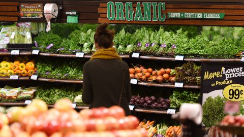 Organic produce for sale at a Ralph's Supermarket in California