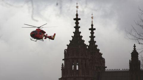 An air ambulance arrives at the scene.