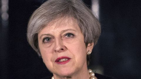 """British Prime Minister Theresa May speaks outside 10 Downing Street in central London on March 22, 2017, following the terror incident in Parliament earlier today. Britain will not change its terrorism threat level despite an attack in London on Wednesday which left three people and the assailant dead, Prime Minister Theresa May said. Three people were killed in a """"terrorist"""" attack in the heart of London Wednesday when a man mowed down pedestrians on a bridge, then stabbed a police officer outside parliament before being shot dead. / AFP PHOTO / POOL / RICHARD POHLE        (Photo credit should read RICHARD POHLE/AFP/Getty Images)"""