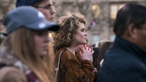 """Kit Keane, 19, is a politics student from Arlington, Virginia currently studying at Kings College. She attended the vigil held in Trafalgar Square on March 23, the day after the attack on Westminster. """"What happened yesterday really shook me. I'm in this city far from where I'm from,"""" she says, emotion etched across her face.  """"No matter what your politics are, you can come together for something like this."""" Taking a moment to compose herself, she continues: """"We're almost so desensitized to [violence]. I got up and went to school today without even thinking about it. I crossed the Thames on my way to school and didn't think about it twice."""""""