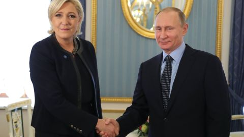 Russian President Vladimir Putin meets with French presidential  candidate Marine Le Pen of the far-right Front National at the Kremlin.