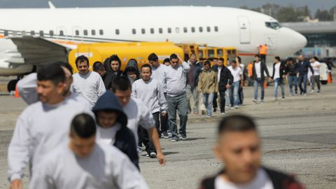GUATEMALA CITY, GUATEMALA - FEBRUARY 09:  Guatemalan immigrants deported from the United States arrive on a ICE deportation flight on February 9, 2017 in Guatemala City, Guatemala. The charter jet, carrying 135 deportees, arrived from Texas, where U.S. border agents catch the largest number illigal immigrants crossing into the United States, many of them from Central America. U.S. President Donald Trump pledged to vastly increase the number of deportations.  (Photo by John Moore/Getty Images)
