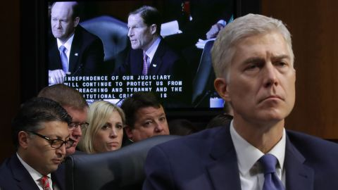 """Supreme Court nominee Neil Gorsuch listens to Sen. Richard Blumenthal deliver opening remarks on Capitol Hill on Monday, March 20, during Gorsuch's confirmation hearing before the Senate Judiciary Committee. Monday was the <a href=""""http://www.cnn.com/2017/03/20/politics/neil-gorsuch-confirmation-hearing/index.html"""" target=""""_blank"""">first day of four hearings</a> for Gorsuch, a federal appeals court judge from Colorado whom Trump has nominated to replace the late Justice Antonin Scalia."""