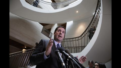 """US Rep. Devin Nunes, the chairman of the House Intelligence Committee, talks to reporters on Capitol Hill on Friday, March 24. Nunes said Paul Manafort, the former campaign chairman for President Trump, has volunteered to be interviewed by committee members regarding <a href=""""http://www.cnn.com/2017/03/24/politics/devin-nunes-paul-manafort-house-intelligence/index.html"""" target=""""_blank"""">allegations of Russian interference in the election</a>. Earlier in the week, <a href=""""http://www.cnn.com/2017/03/23/politics/devin-nunes-reaction-house-intelligence-committee-congress/"""" target=""""_blank"""">the House Intelligence Committee said Nunes apologized to </a>members after he held two public news conferences and personally briefed the President about intelligence information without first consulting any members of the committee."""