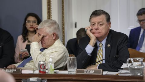 """After eight hours of debate on Capitol Hill, US Rep. and Chairman of the House Rules Committee Pete Sessions, left, and US Rep. Tom Cole, vice chair of the committee, listen to arguments from fellow committee members regarding the final version of the GOP health care bill on Wednesday, March 22. House GOP lawmakers have been working to repeal the Affordable Care Act. A vote on the new legislation was set to take place on Friday, but House Speaker Paul Ryan <a href=""""http://www.cnn.com/2017/03/24/politics/house-health-care-vote/index.html"""" target=""""_blank"""">pulled the health care bill from a floor vote</a> after being unable to secure enough support to pass it."""