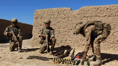 Afghan National Army commandos take position during an ongoing battle between Taliban militants and Afghan security forces in Helmand province in October 2016.Taliban forces have reportedly retaken Sangin, a key town in the province.