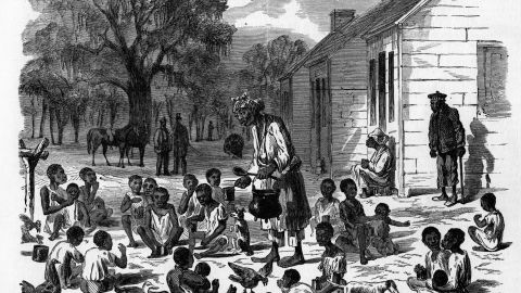 Illustration of slave children being fed at Hilton Head, South Carolina in December 1861.