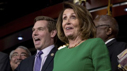 """House Minority Leader Nancy Pelosi, right, smiles while speaking at a news conference on Capitol Hill on Friday, March 24, after Republican leaders pulled their health care overhaul bill from a floor vote. <a href=""""http://www.cnn.com/2017/03/24/politics/democrats-obamacare-glee/index.html"""" target=""""_blank"""">Democrats erupted in glee following the news</a>, since Obamacare will stay -- at least for now. Pelosi said during the news conference, """"Today's a great day for our country,"""" adding later, """"It's pretty exciting for us."""""""