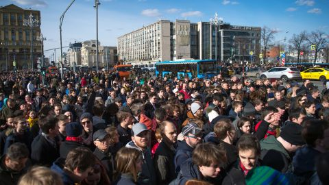 Opposition supporters take part in an unauthorized anti-corruption rally in central Moscow on Sunday.