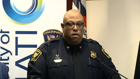 Cincinnati Police Chief Eliot Isaac addresses reporters after Sunday morning's fatal shooting.