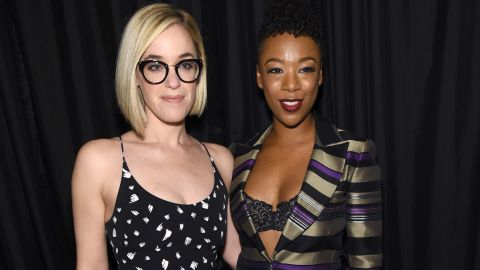 """Writer Lauren Morelli and actress Samira Wiley met in 2012 on the set of """"Orange Is the New Black."""" At the time, Morelli was married to a man and came to realize she was gay while working on the show. The two got engaged in 2016."""