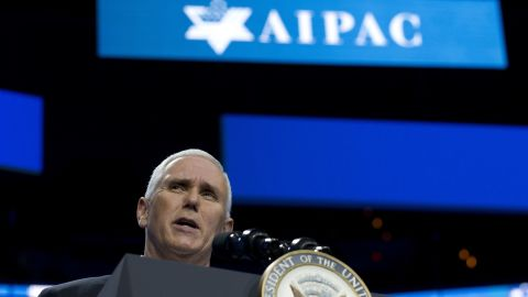 Vice President Mike Pence, at the AIPAC policy conference in Washington on Sunday