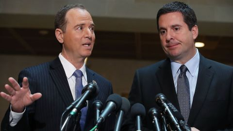 House Intelligence Committee Chairman Devin Nunes (R-CA) (R), and ranking member Rep. Adam Schiff (D-CA) speak to the media about Committee's investigation into Russian interference in the U.S. presidential election, at the U.S. Capitol on March 15, 2017 in Washington, DC.   (Photo by Mark Wilson/Getty Images)