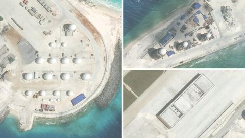New radar arrays and an aircraft hanger freshly completed at China's artificial island on Fiery Cross Reef, according to AMTI