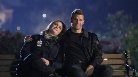"""Emily Deschanel and David Boreanaz in """"The Final Chapter:  The End in the End"""" series finale episode of """"Bones."""""""
