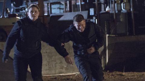 "Emily Deschanel and David Boreanaz in the series finale episode of ""Bones."""