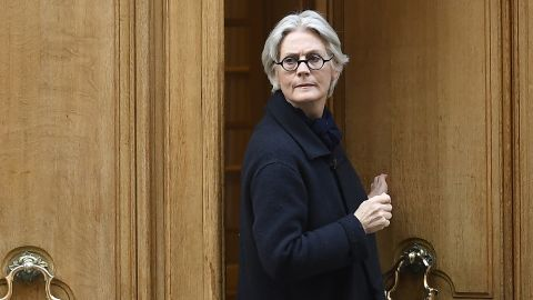 Penelope Fillon, the wife of French presidential election candidate François Fillon, leaves her apartment building in Paris on Monday.