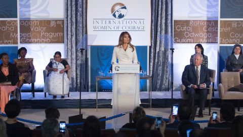 """Trump speaks in March 2017 at the Secretary of State's <a href=""""http://www.cnn.com/2017/03/29/politics/melania-trump-speech-state-award/"""" target=""""_blank"""">International Women of Courage Awards.</a> She called for women's empowerment and the celebration of diversity."""
