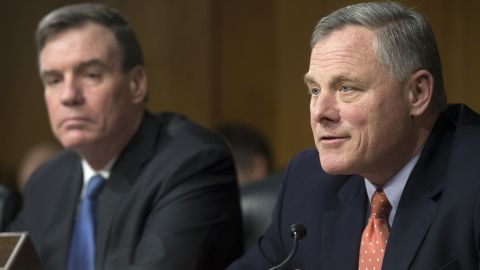 US Senator Richard Burr, Republican of North Carolina and Chairman of the Senate Select Committee on Intelligence, speaks alongside US Senator Mark Warner, Democrat of Virginia and Committee Vice-Chairman, during a Committee hearing on Russian Intelligence Activities during US elections, on Capitol Hill in Washington, DC, March 30, 2017.