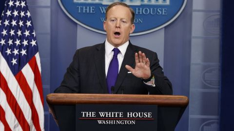 White House press secretary Sean Spicer speaks during the daily press briefing, Thursday, March 30, 2017, at the White House in Washington.