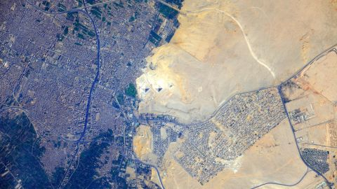 The pyramids at Giza can be seen in the center of this image taken from the International Space Station in 2012, with the modern Cairo metropolitan area to the left and the Sahara desert on the right. <strong>Scroll through the gallery for more photos of the continent taken from space.</strong>