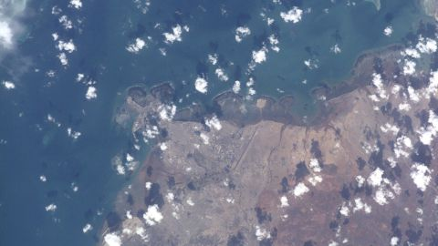 This view taken from the International Space Station in 2000 shows Djibouti, the capital city of the country of the same name, in East Africa.