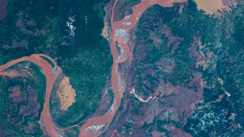 This image taken from the International Space Station 2009 shows the Betsiboka River in Madagascar.
