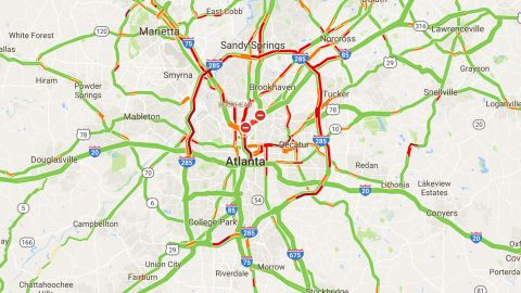 Traffic on I-85 was light Friday morning as drivers were forced onto other routes in metro Atlanta.