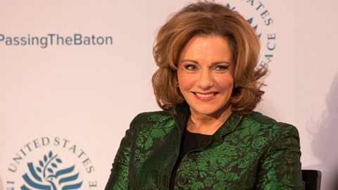 Kathleen Troia 'K.T.' McFarland, deputy national security adviser designate looks on during a conference at the US Institute Of Peace at the US Institute Of Peace in Washington DC, January 10, 2017.