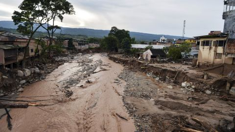 Rain battered southwestern Colombia on March 31, leading to deadly mudslides in Putumayo province. The town of Mocoa was severely damaged when as a mudslide tore through it. This April 2, 2017 photo shows the extent of the destruction.