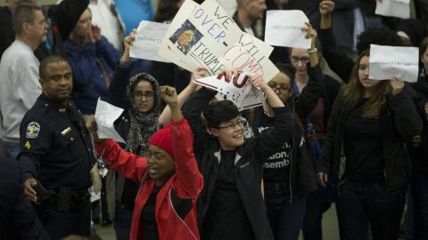 Protesters are led out of a Donald Trump rally in Louisville, Kentucky, on March 1, 2016.