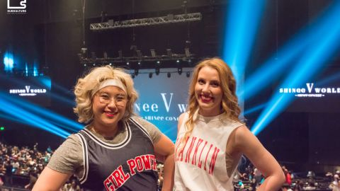 Fans at the SHINee concert at the Verizon Theatre at Grand Prairie