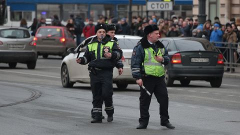 Police in the city take extra security measures after the explosion.
