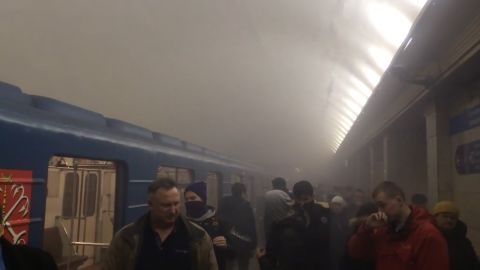 Smoke fills a subway station near the blast. The explosion, which authorities described as a terrorist attack, took place on a subway car as the train was in a tunnel between the Sennaya Ploshchad and Tekhnologichesky Institut stations.