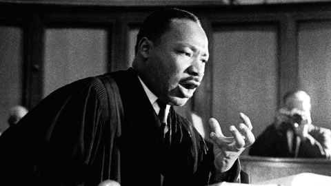 """""""The world now demands a maturity of America that we may not be able to achieve,"""" Martin Luther King Jr. told a packed audience."""