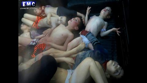 This photo, provided Tuesday, April 4, by the activist Idlib Media Center, shows dead children after a suspected chemical attack in the rebel-held city of Khan Sheikhoun, Syria. Dozens of people were killed, according to multiple activist groups.