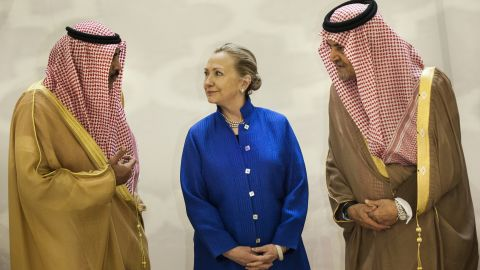 Then-Secretary of State Hillary Clinton meets with Saudi officials.
