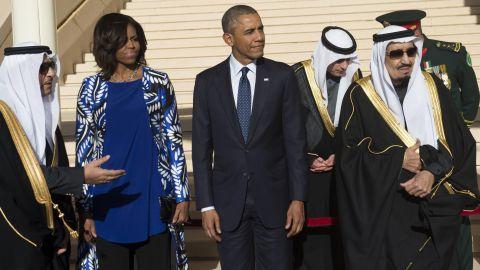 The Obamas visit King Salman bin Abdulaziz Al-Saud.