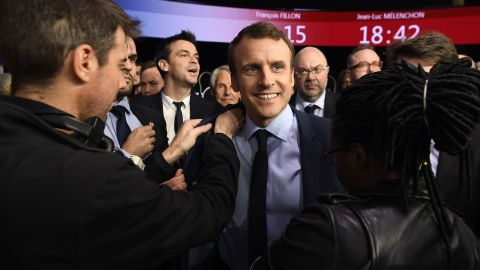 French presidential election candidate for the En Marche ! movement Emmanuel Macron reacts moments after the end of a debate organised by the French private TV channels BFM TV and CNews, between the eleven candidates for the French presidential election, on April 4, 2017 in La Plaine-Saint-Denis. / AFP PHOTO / POOL / Lionel BONAVENTURE        (Photo credit should read LIONEL BONAVENTURE/AFP/Getty Images)