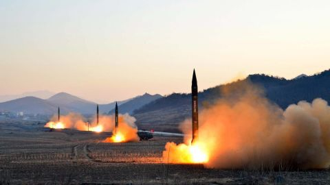 """TOPSHOT - This undated picture released by North Korea's Korean Central News Agency (KCNA) via KNS on March 7, 2017 shows the launch of four ballistic missiles by the Korean People's Army (KPA) during a military drill at an undisclosed location in North Korea.Nuclear-armed North Korea launched four ballistic missiles on March 6 in another challenge to President Donald Trump, with three landing provocatively close to America's ally Japan. / AFP PHOTO / KCNA VIA KNS / STR / South Korea OUT / REPUBLIC OF KOREA OUT   ---EDITORS NOTE--- RESTRICTED TO EDITORIAL USE - MANDATORY CREDIT """"AFP PHOTO/KCNA VIA KNS"""" - NO MARKETING NO ADVERTISING CAMPAIGNS - DISTRIBUTED AS A SERVICE TO CLIENTSTHIS PICTURE WAS MADE AVAILABLE BY A THIRD PARTY. AFP CAN NOT INDEPENDENTLY VERIFY THE AUTHENTICITY, LOCATION, DATE AND CONTENT OF THIS IMAGE. THIS PHOTO IS DISTRIBUTED EXACTLY AS RECEIVED BY AFP.  /         (Photo credit should read STR/AFP/Getty Images)"""