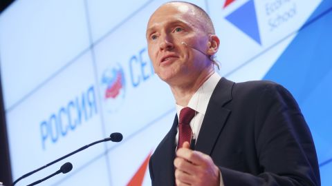 """Carter Page, Global Energy Capital LLC Managing Partner and a former foreign policy adviser to U.S. President-Elect Donald Trump, makes a presentation titled """" Departing from Hypocrisy: Potential Strategies in the Era of Global Economic Stagnation, Security Threats and Fake News"""" during his visit to Moscow. Artyom Korotayev/TASS (Photo by Artyom Korotayev\TASS via Getty Images)"""