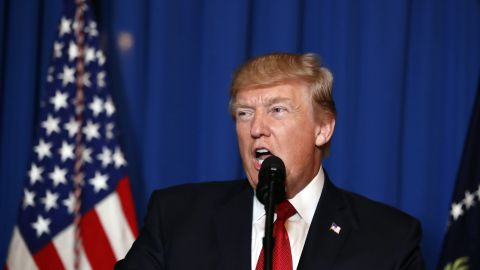 President Donald Trump speaks at Mar-a-Lago in Palm Beach, Florida, on April 6, 2017, after the US fired a barrage of cruise missiles into Syria in retaliation for the week's gruesome chemical weapons attack against civilians.