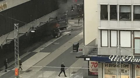 Local media reported that the truck was hijacked as it made a delivery nearby. Eyewitnesses said it barreled down Drottninggatan (Queen Street) before it crashed into the front of a department store.