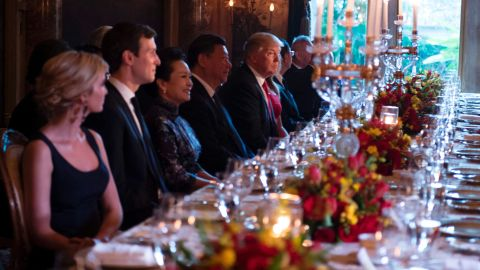 US President Donald Trump and Chinese President Xi Jinping look on during dinner at the Mar-a-Lago estate in West Palm Beach, Florida, on April 6, 2017.